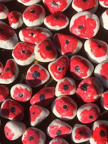 Poppy pathway created by pupils in the grounds at Broadfield Community School in commemoration of last year's Remembrance Day