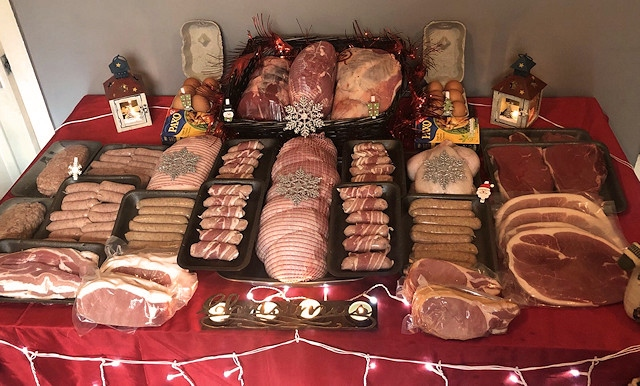 Receive over 40lbs of quality local meat this Christmas with the bumper Christmas hamper