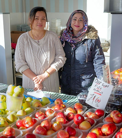 Kanchana Grorizer and Faiza Khan serve up 5 day at the new greengrocers in Rochdale Market