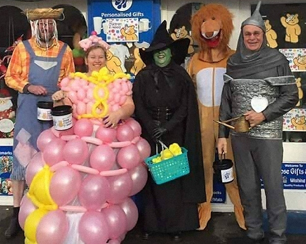 Staff at Blue Rose Gifts dressed up as characters from the Wizard of Oz for Children in Need