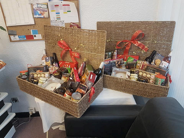 The Christmas hampers, bursting with festive delights