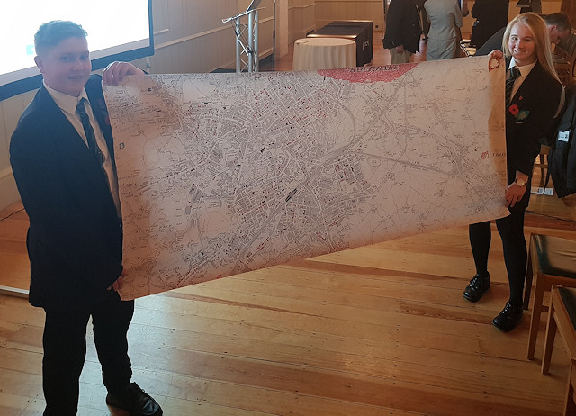 Jenna Holt and Jake Idiens with the 'portable' map
