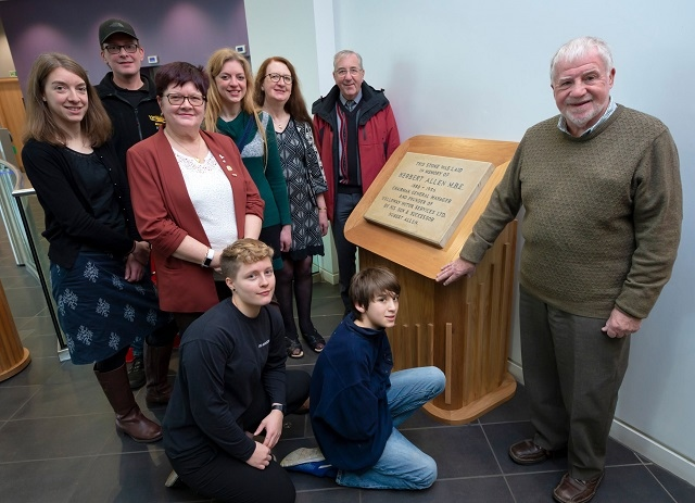The stone is unveiled on the ground floor of Number One Riverside.  (Left to right) Helen Scott, Steve Buckley, Councilor Janet Emsley, Natalie Jewell, Joy Parker, Paul Blackburn.  Before - Fiona Parker and Joshua Jewell.
