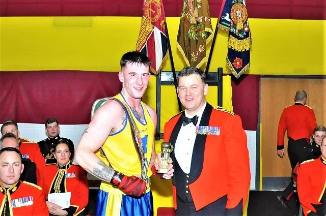 Lance Corporal Leigh Petrecz with Colonel John Matthews OBE