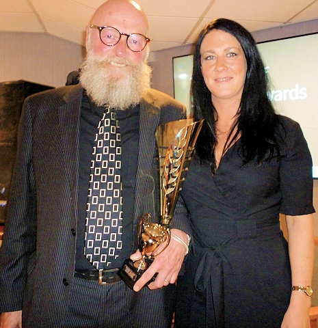 Norden Cricket Club Ladies award winner Jayne Salford with Graeme Fowler