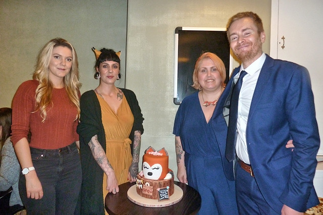 Naomi and Toby Rhys Thomas (both right) with Veggie Vixen manager Clare O'Hearne (left) and Meow manager Kate Coop (far left)