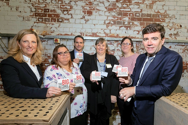 Mayor of Greater Manchester Andy Burnham (far right) at the Big Alcohol Launch