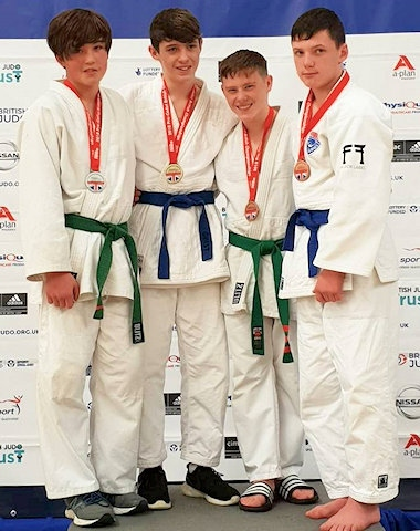 Jake Brearley, Rochdale Judo Club won Bronze in the British Championships (second from the right)