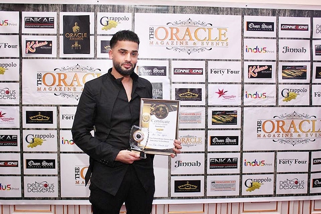 Mohammed Ilmaas with his Oracle Award