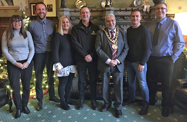 Left-Right: Jayne May and Paul Ambrose from Rochdale Town Centre Management, Heidi Crompton (The Baum), Geoff Dardis (The Medicine Tap), Mayor Mohammed Zaman, Michael Howarth (Vicolo & The Wellington), Chris Riley (The Regal Moon)