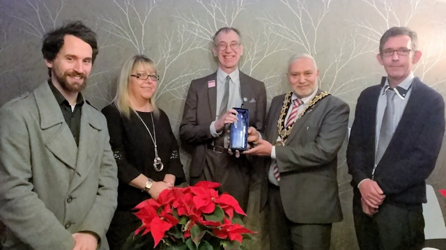 Matt Turtle (founder of the Homeless Museum), Collette Heaton-Sudell (Limes Managing Director), John Priestley (centre) with Mayor Zaman and Peter Hurley (Limes support worker)