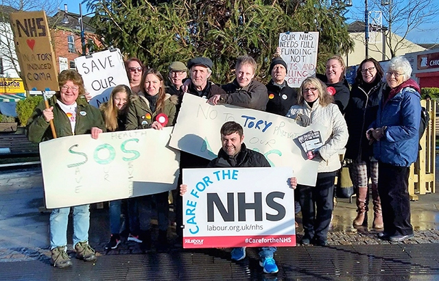 Local Labour Party activists protesting NHS 'cuts and privatisation'
