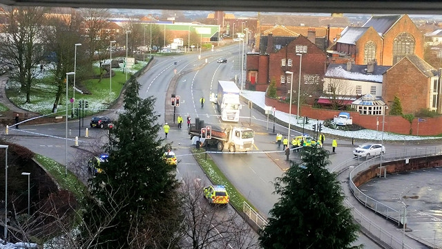 A man died in a collision with a lorry at the junction of Spotland Road, St Mary's Gate and Hunter's Lane