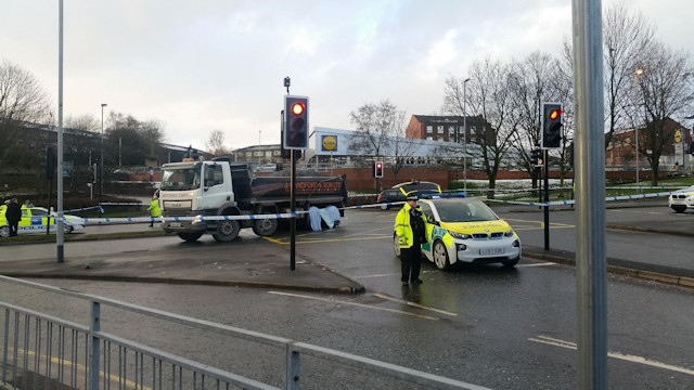 The scene of the collision at the junction of Spotland Road, St Mary's Gate and Hunter's Lane