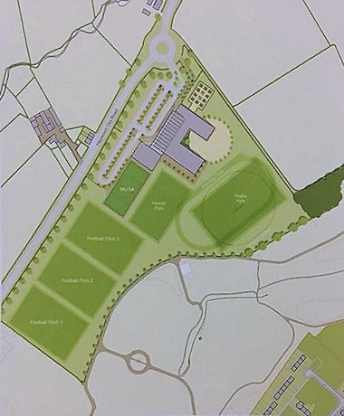 The aerial plan of the school buildings, football pitches and parking