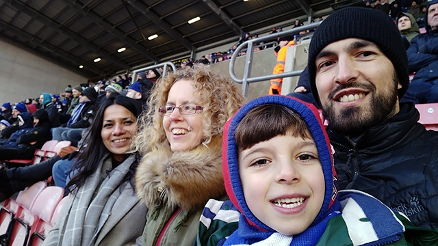 Six-year-old Noah Journeaux enjoys his first Rochdale away game