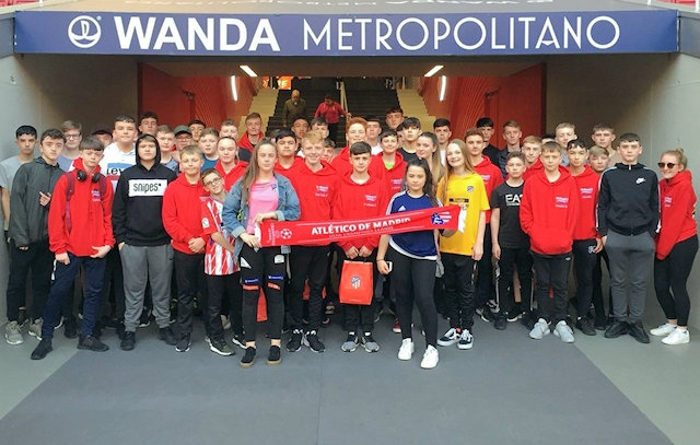 Footballing students from Whitworth Community High School on their school trip to Madrid