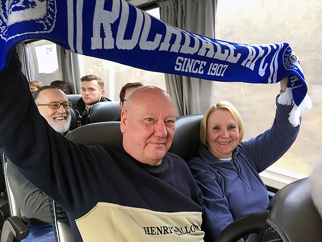 Rochdale supporters Alan Ashcroft and Ann Hudson on their way to Wembley