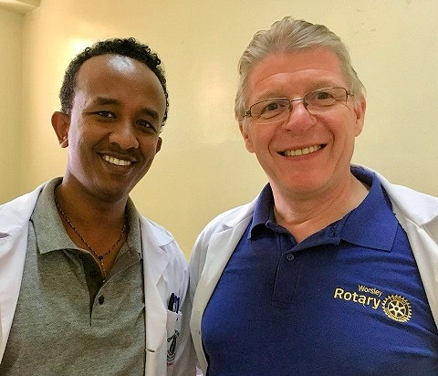 Mr Tony Clayson (right) seeing patients and doing ward rounds with a colleague from the Orthopaedic Unit in Hawassa