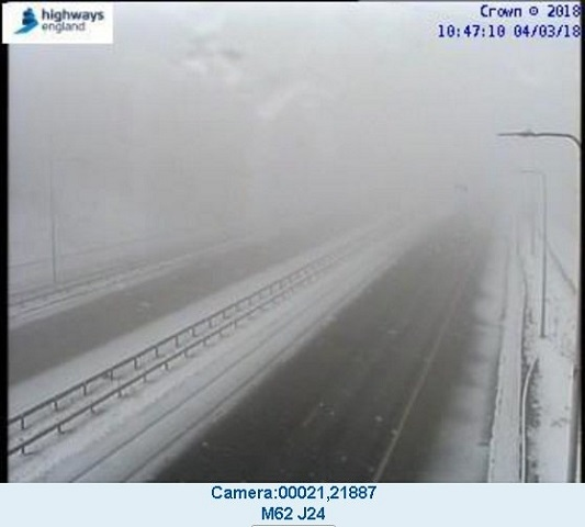 Still wintry with freezing temperatures and fog on the M62