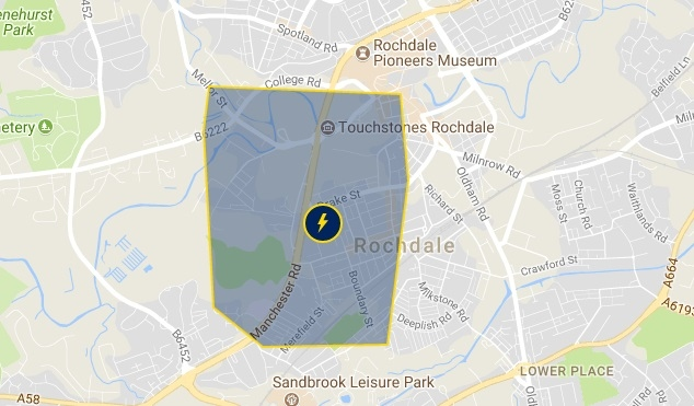The area affected by the powercut