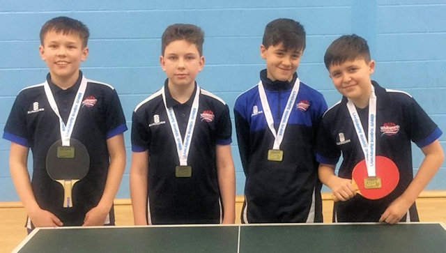 Whitworth Community High School's table tennis team, Lucas Thompson, Harvey Waugh and Oliver Brooks and Leo Talamantes