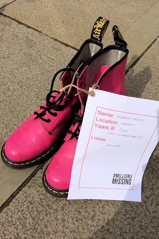 Merryn's shoes, representing just one life affected by the disease