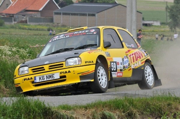 Brown was back in action in the Nissan Mica Kit Car at Rally van Wervik