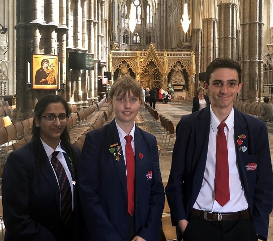 Whitworth students Fatima Shaw, Megan Lucas and Oliver Norris inside Westminster Abbey for the Stephen Hawking Memorial Service