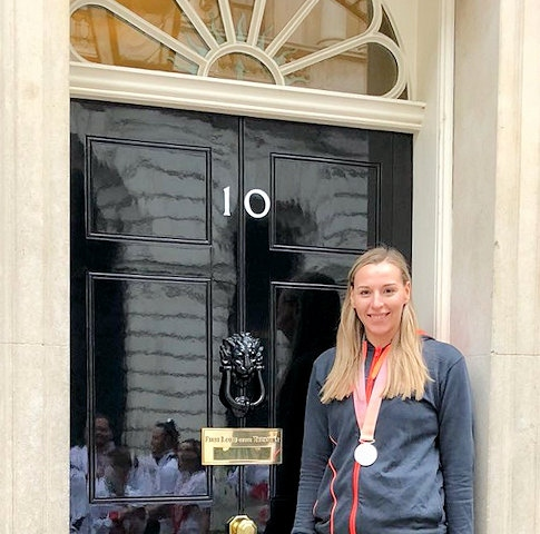 Mollie Campbell, from Whitworth, with her silver medal at Downing Street