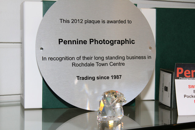 The plaque awarded to Pennine in recognition of their work
