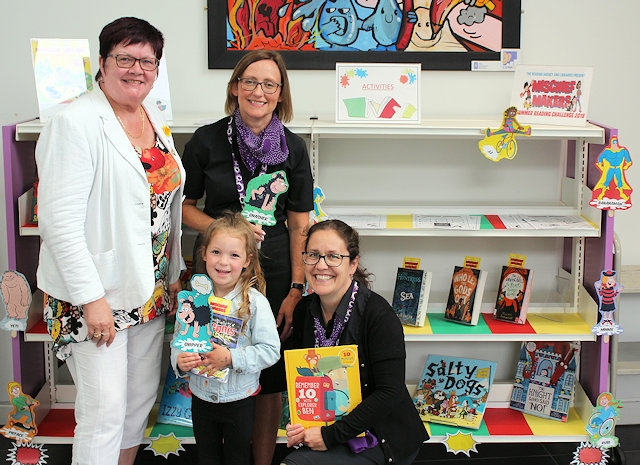 Four-year-old Esme Bond with Councillor Janet Emsley, Joanna Yeomans and Michelle Krauza (both from the council