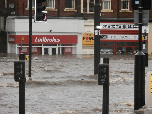 Rochdale town centre during the Boxing Day 2015 flood