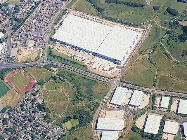 Aerial shot of JD Sports Distribution Centre