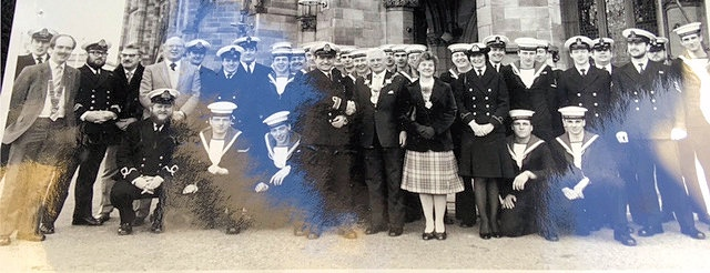 Former Mayor of Rochdale Norman Angus with members of the Royal Navy