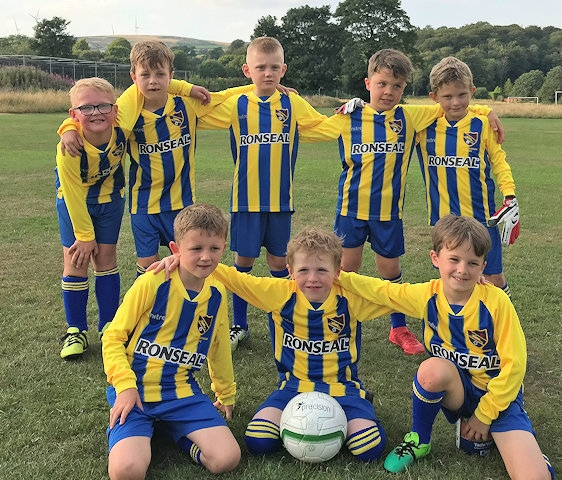 Littleborough Juniors Football Club under 8s team kit sponsored by Ronseal