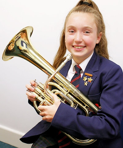 Tenor horn player Alice Clarke from Whitworth Community High School