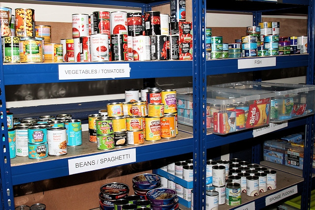 Some of the shelves at Rochdale Foodbank following harvest donations in 2018