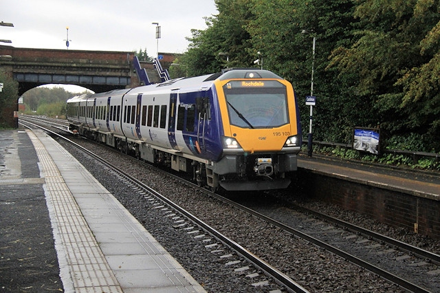 A new 195 train, pictured here at Castleton on its maiden journey between Manchester Victoria and Rochdale