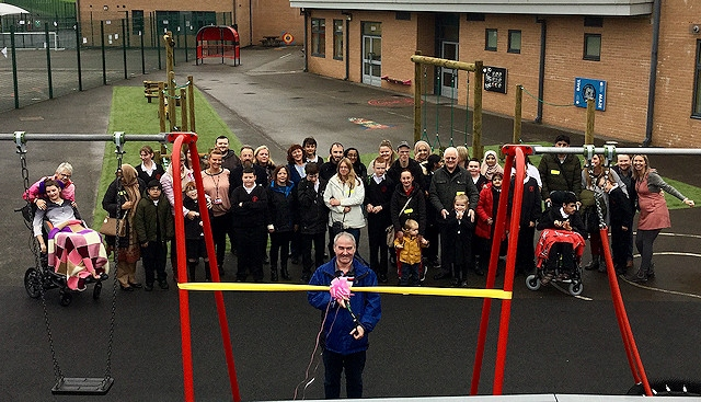 The unveiling of the new inclusive playground at Redwood School