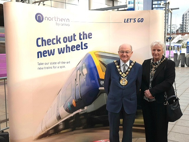 Mayor Billy Sheerin and Mayoress Lynn Sheerin attended Northern rail's new train event