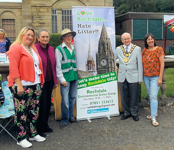 Councillor Rachel Massey (far left) with Mayor of Rochdale Billy Sheerin (second from right) with Rochdale Environmental Action Group members Marcia, George and Christine