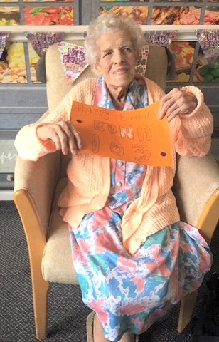 Edna celebrated her 103rd birthday at Ashbourne Nursing Home, Norden