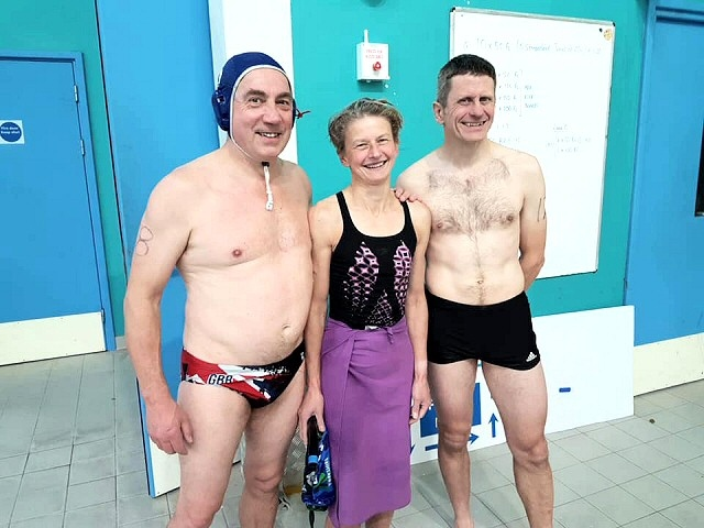 Mick Hyde, Helen Hyde and Pete Dukes of Rochdale Underwater Hockey Club