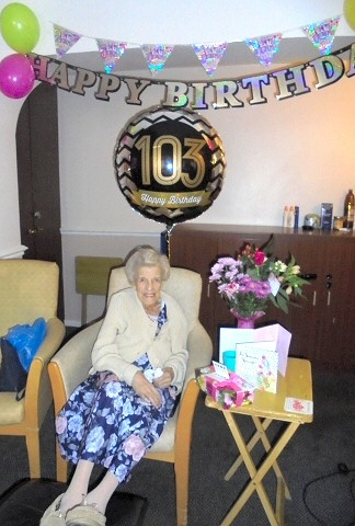 Edna Hughes celebrates her 103rd birthday