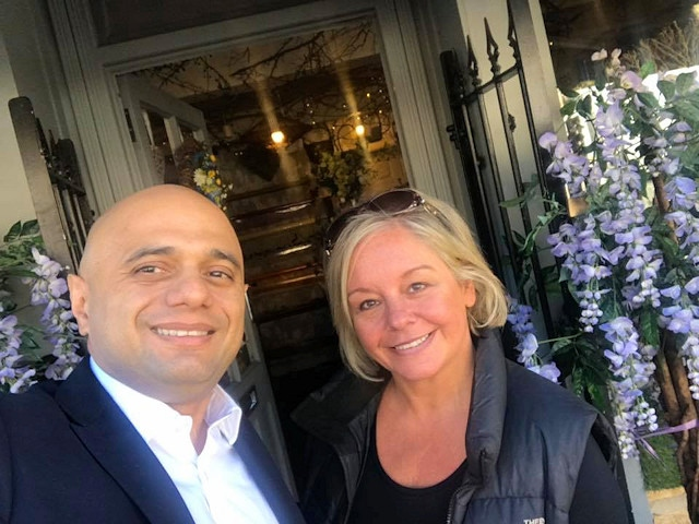 Chancellor of the Exchequer, Sajid Javid, and Garden of Eden owner, Christine Campbell