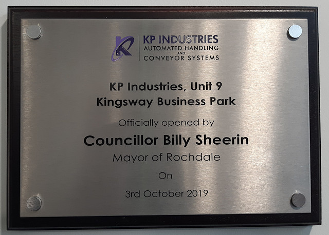 A plaque at the new building declaring it being opened by Mayor Billy Sheerin