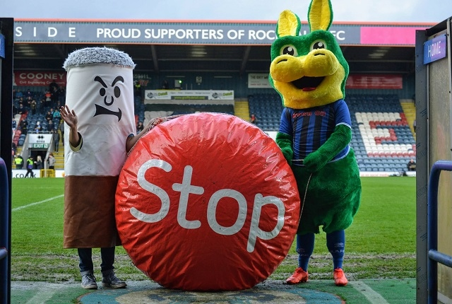 Desmond the Dragon and Bertie Butt with the Stoptober ball
