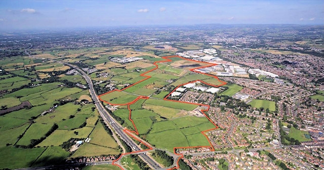Aerial view of the south Heywood area - from IBI group\'s design and access statement, via the Rochdale Council website