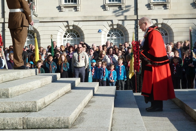 Mayor Billy Sheerin before laying a wreath on Remembrance Sunday